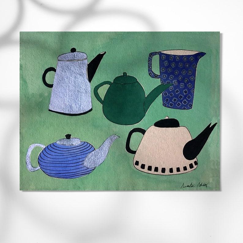 5 Teapots print home decor montseroldos_artworks art / 5 image 0