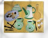 Teapot and little cake print, home decor, montseroldos_artworks, art / Tetera i pastissets