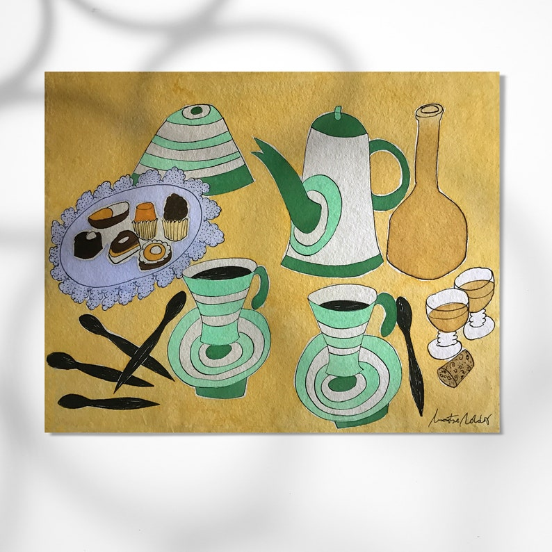 Teapot and little cake print home decor image 0