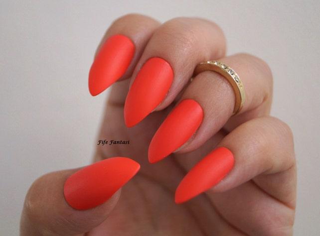 Red Matte Stiletto Nails Nail Art Nail Designs Stiletto Etsy