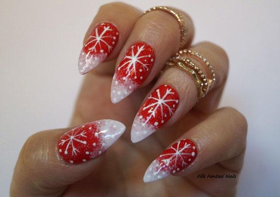 Christmas Stiletto Nails.Christmas Nails Red Xmas Stiletto Fake Nails False Nails Acrylic Nails Nail Art Press On Nails Red Stiletto Nails Holiday Nails Nail