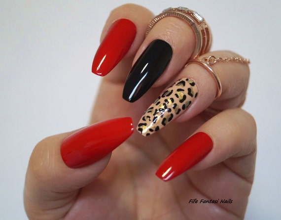 Red Coffin Nails Animal Print Stiletto Fake