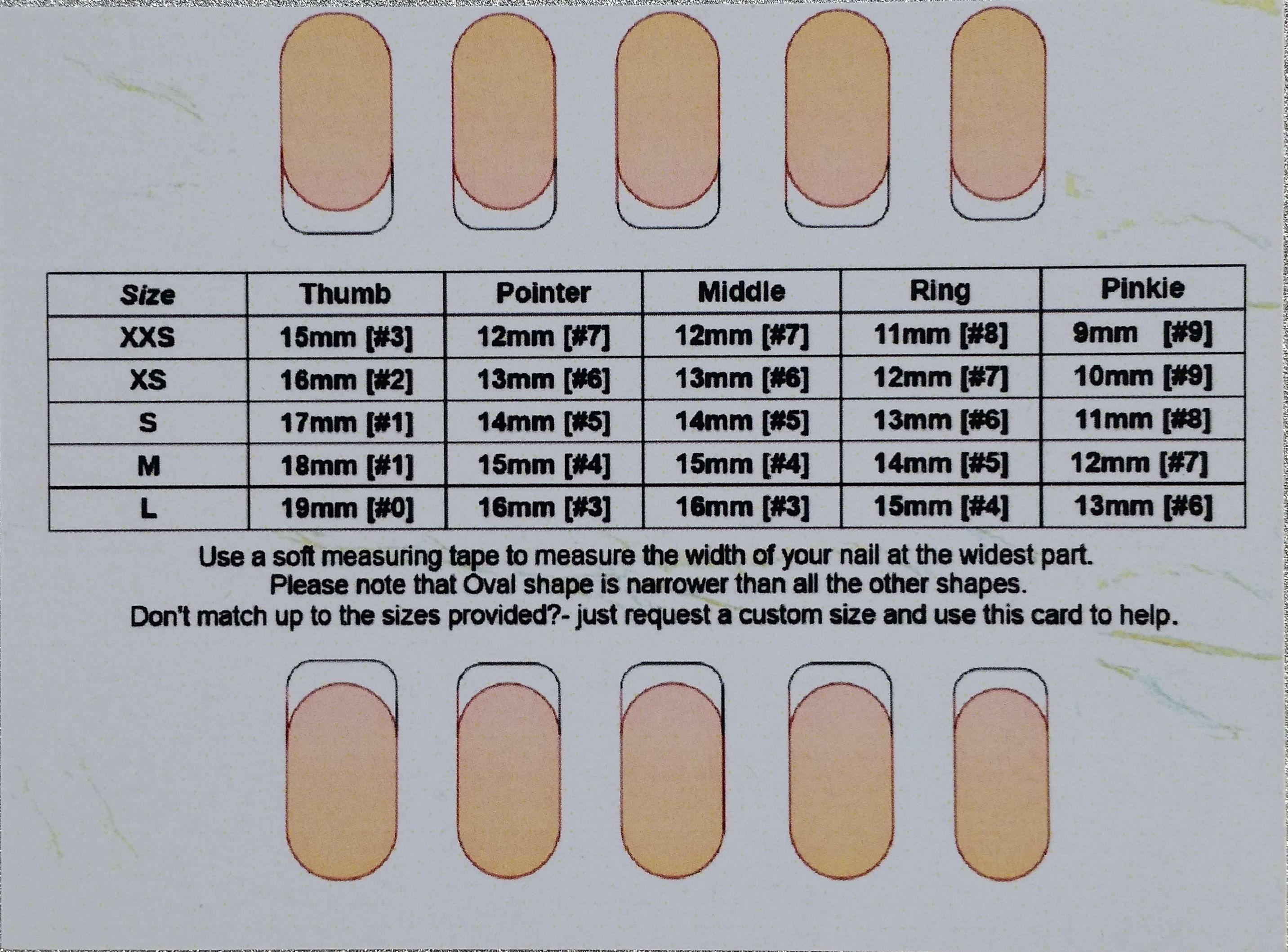 Press on Nails Sizing Sample; False Nails; Size Guide; Fake Nails ...