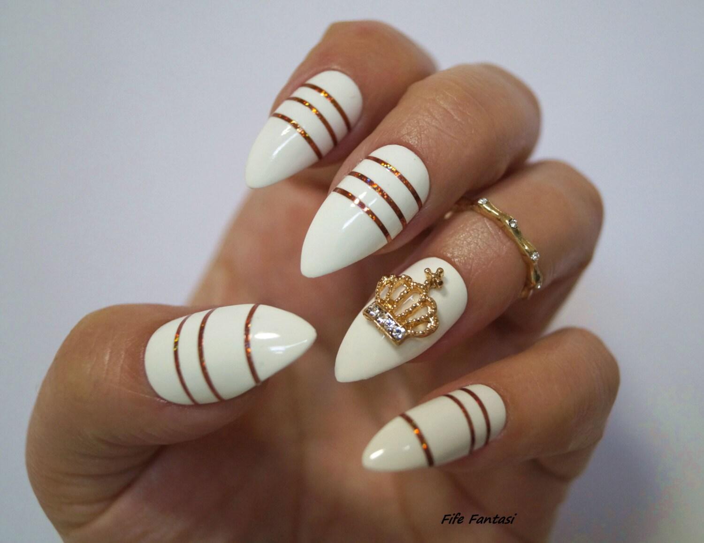 White Stiletto Nails Nail Art Fake Nails Stiletto Nails Etsy