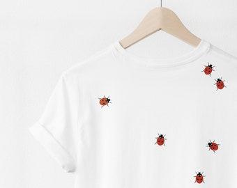 T-shirt with ladybugs print, cotton, white, minimalistic design, minimal tshirt, tee, oversized