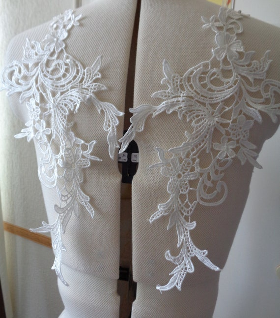 A pair of off white bridal lace collar appliques  cotton lace bolero motifs Combined P/&P