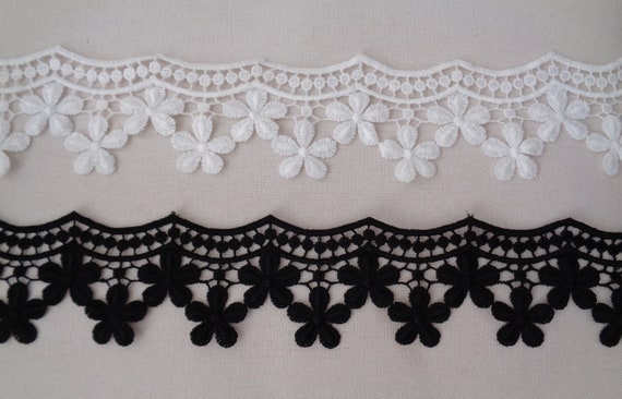 Black or ivory beaded lace trim bridal sequins floral lace trim by Yard 90cm