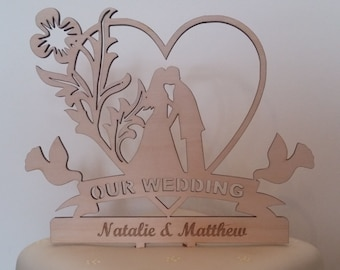 Laser cut Wooden Wedding Cake Topper, Wedding cake topper, wooden cake topper