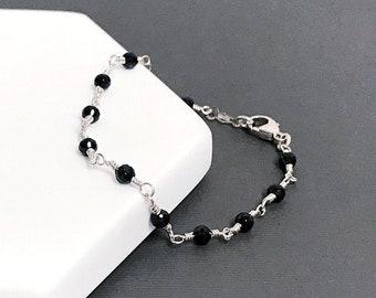 Black Spinel Bead Chain Bracelet