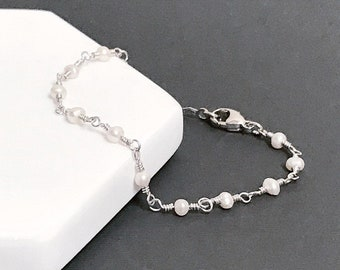 Pearl Bead Chain Bracelet - 3mm