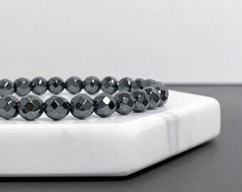 Hematite Beaded Bangle - Round Bead