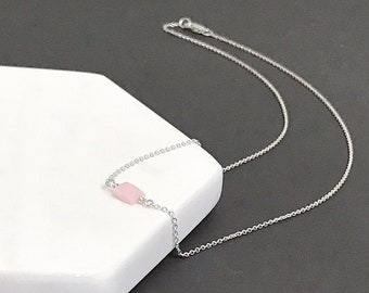 Pink Opal Necklace - Sterling Silver
