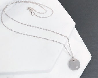 White Sapphire Disc Necklace - Single Stone