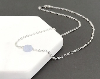 Blue Lace Agate Necklace - Single Bead