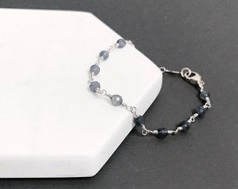Iolite Bead Chain Bracelet