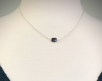 Garnet Single Bead Necklace - Sterling Silver - Garnet Necklace - Delicate Necklace - January Birthstone - Birthstone Jewelry - Gift for Her