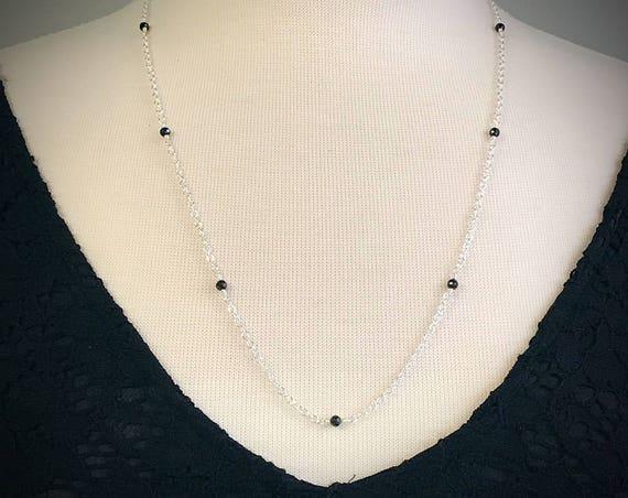Black Spinel Necklace - Sterling Silver