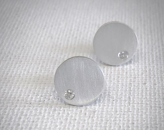 White Sapphire Disc Earrings