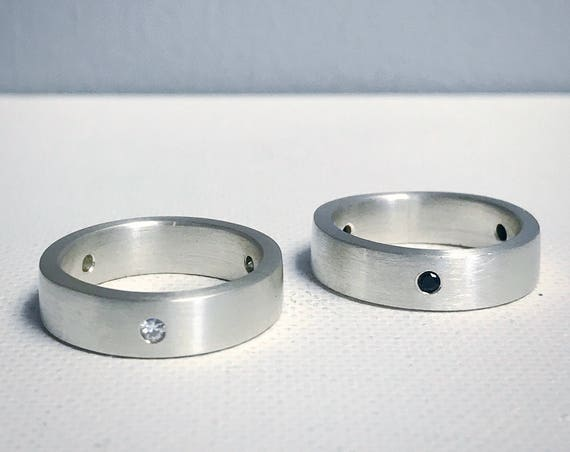 Three Stone Band - Sterling Silver