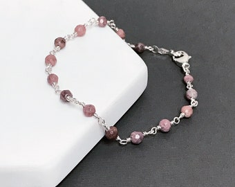 Rhodonite Bead Chain Bracelet