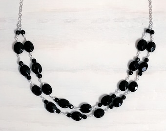 Black Agate Multi-Strand Necklace