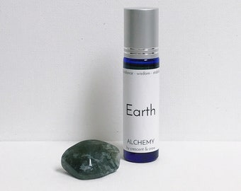 Earth Element Roll-on Oil with Moss Agate Stone