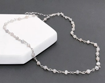 Platinum Moonstone Necklace