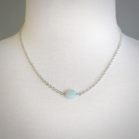 Amazonite and Sterling Silver Single Bead Necklace