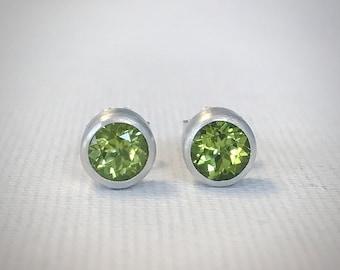 Peridot Stud Earrings - Sterling Silver - Modern Earrings - Silver Earrings - August Birthstone - Gift for Her - Handmade Earrings