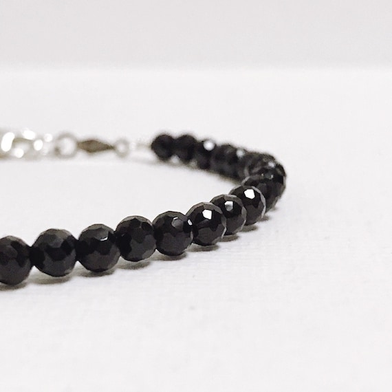 Black Spinel Beaded Bangle