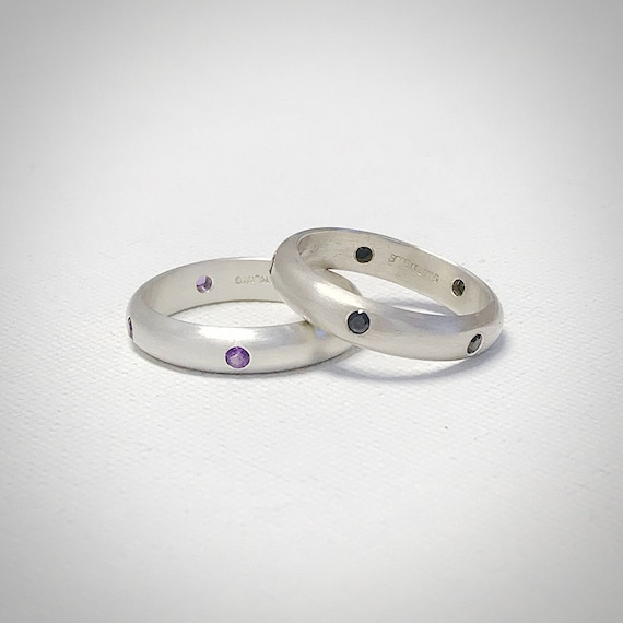 Gemstone and Sterling Silver Band - Five Stone