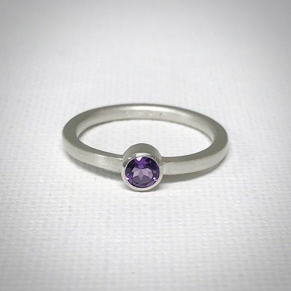 Amethyst and Sterling Silver Ring - 4mm