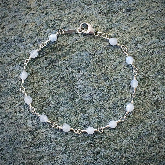 Rainbow Moonstone Bead Chain Bracelet