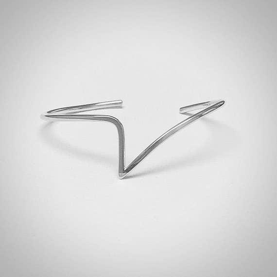 V Cuff Bracelet - Sterling Silver