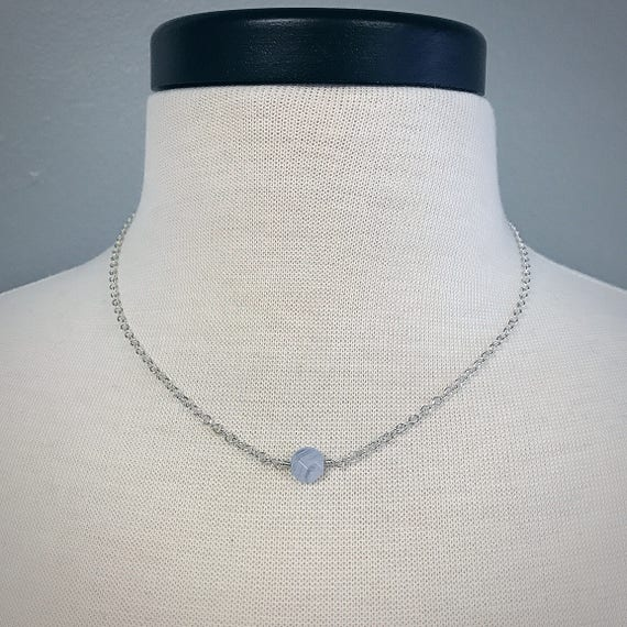 Blue Lace Agate Single Bead Necklace - Sterling Silver