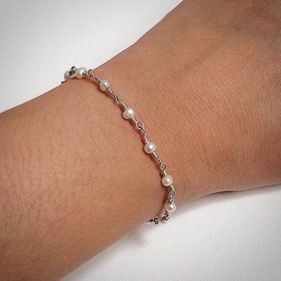 Pearl Bead Chain Bracelet-Small Pearl