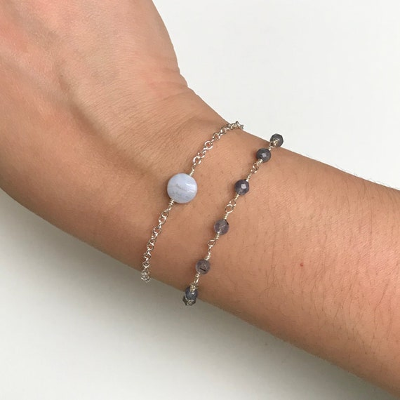 Shades Of Blue Bracelet Set - Blue Lace Agate & Iolite