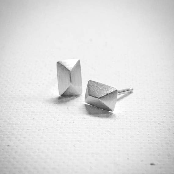 Triangle Stud Earrings - Sterling Silver