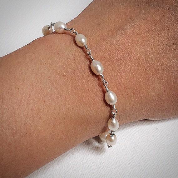 Pearl Bead Chain Bracelet-Large Pearl