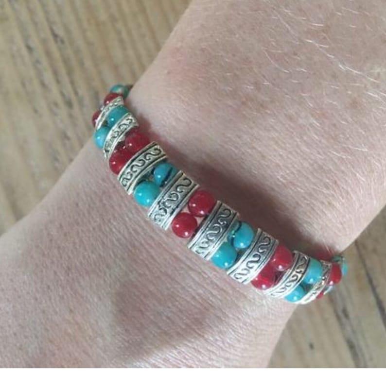 Beaded and Silver Bracelet Silver Bracelet Red and Turquoise Bead and Silver Bracelet Tibetan Silver Jewellery