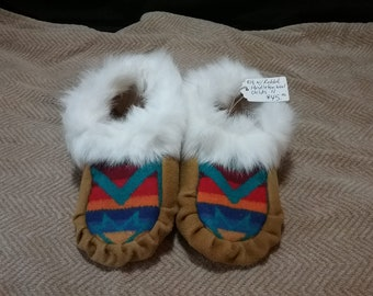 Handmade Toddler Size 11 Elk suede moccasins Rabbit Fur trim