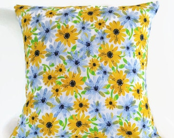 Yellow Floral Pillow /  Blue Floral 16x16 inch Throw Pillow Cover/ Toss Cushion Cover/ Summer Colours/ Spring Decor/ Golden Yellow Flowered