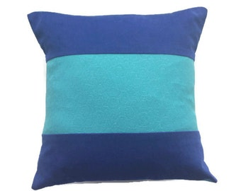 Royal Blue Pillow Cover with Turquoise/Textured Cobalt Corduroy and Aqua Cushion/Handmade Pieced Throw Pillow/14×14 inches/Blue and Aqua