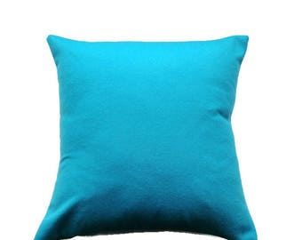 Turquoise Blue Pillow Cover, Wool Look Cushion Cover in Bright Aqua Blue, Textured Pillow Cover, Christmas Decor, 16x16 inch Throw Cushion