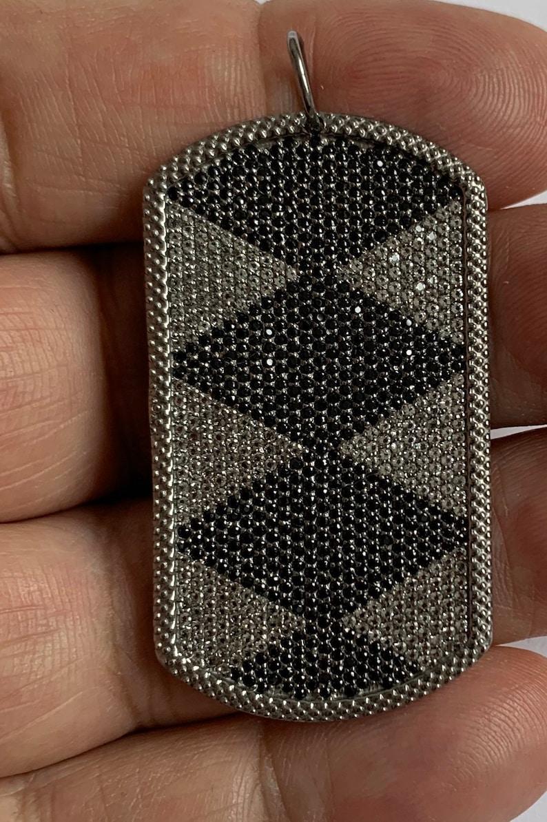 pave white topaz black spinal sterling silver pendant