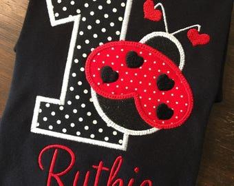 Ladybug Birthday Shirt Lady Bug Monogrammed 1st First 2nd 3rd 4th 5th 6th