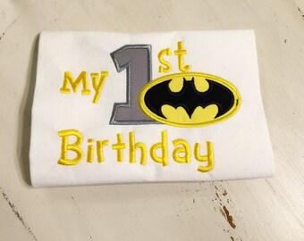 Batman 1st First Birthday Shirt // Batman Shirt // Boy Birthday Shirt // Monogrammed Birthday Shirt