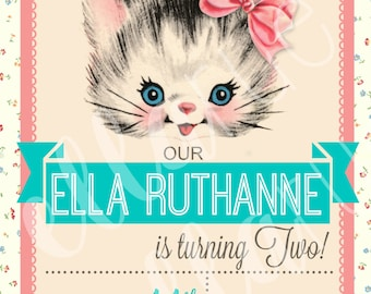 Vintage Floral Kitty Cat Birthday Party Invitation