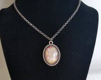 Antique Silver Faux Opal Necklace