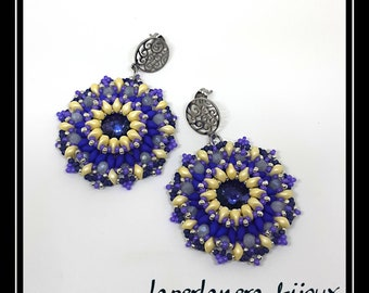 Crown earrings, yellow blue earrings, summer colored earrings, beading pendant earrings, big silver earrings, hoop earrings